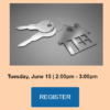 a keychain holds a house image and 2 keys on varying tones of gray